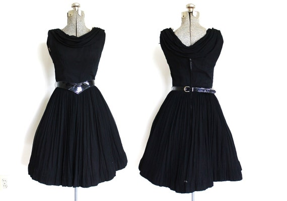 1950s Dress / 50s Dress / 50s 60s Black Chiffon C… - image 2