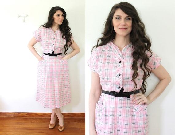 Pink 50s Plaid Dress / 1950s Plaid Princess Peggy