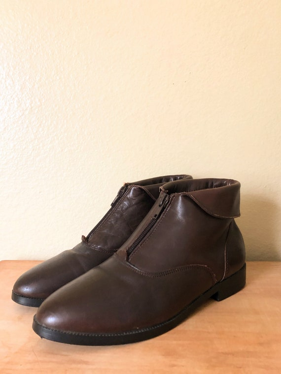 90s Ankle Boots / 1990s Brown Leather Zip-Up Ankl… - image 3