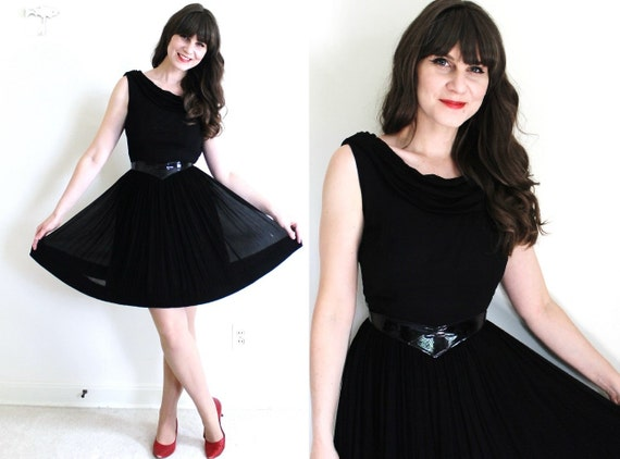 1950s Dress / 50s Dress / 50s 60s Black Chiffon Co