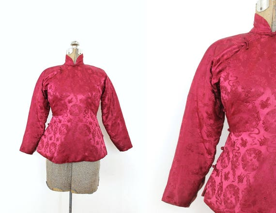 1940s Brocade Jacket / 1940s 40s Cranberry Red Asi