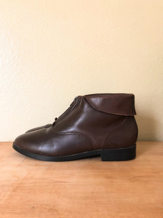 90s Ankle Boots / 1990s Brown Leather Zip-Up Ankl… - image 2