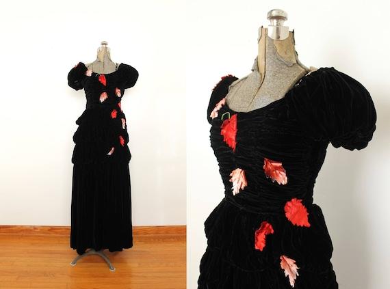 1940s Black Velvet Gown / 40s Jet Black Rayon Velv