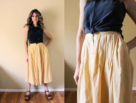 Vintage Button Up Gauze Skirt / 1990s Skirt / 90s… - image 1