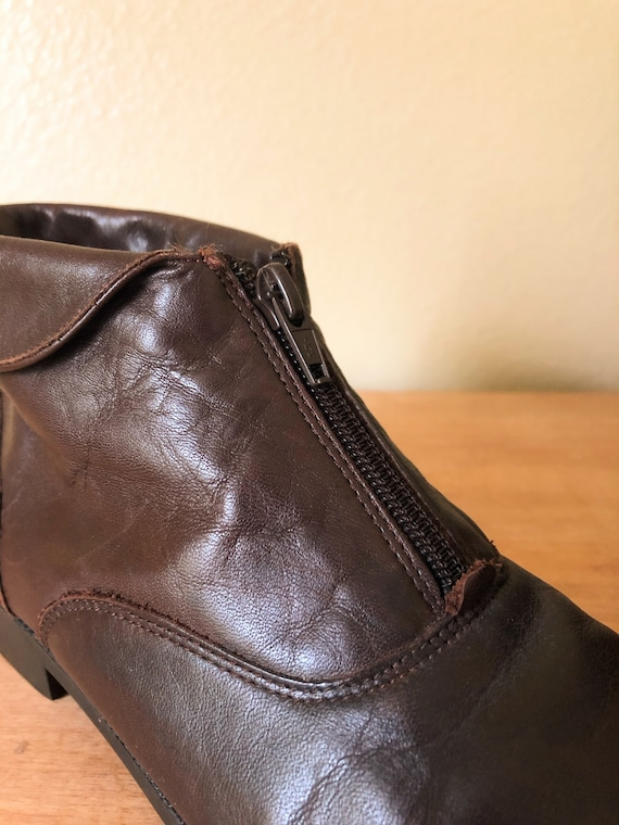 90s Ankle Boots / 1990s Brown Leather Zip-Up Ankl… - image 5