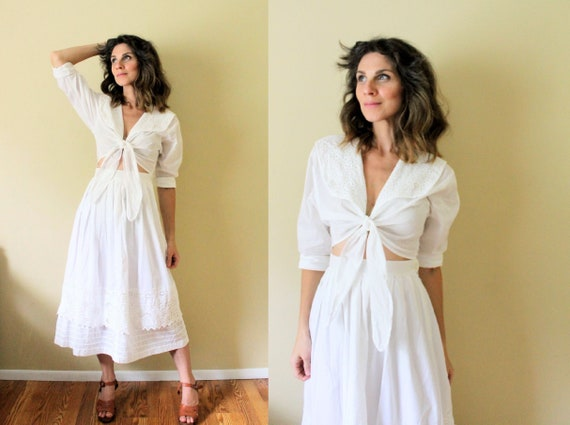 1980s Crop Top and Skirt Set / 1980s White Dress S