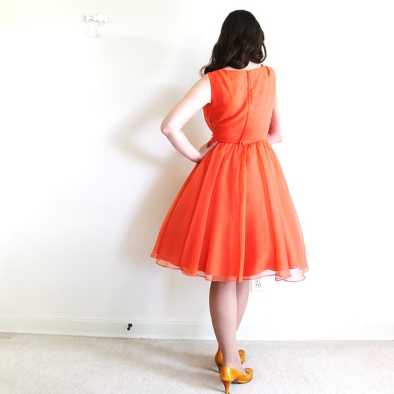 50s Dress / 1950s 1960s Dress / Coral Chiffon Par… - image 3
