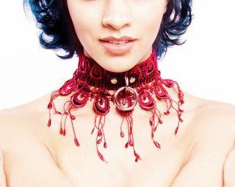 BDSM Collar L'OISEAUX - Peacock  of Black Leather with BURGUNDY Venice Lace - Slave Submissive Fetish DDlg Halloween Day