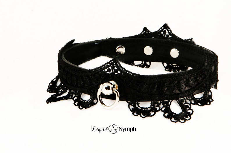 Lolita Fetish Collar  VIVICA BDSM Black Leather Lace Collar image 0