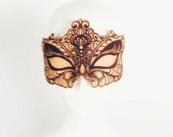 NEW  Blindfold Blackout Laser Etched Leather Eye mask Sleep mask Kismask