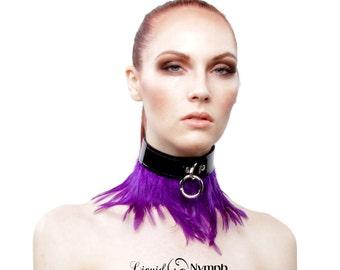 Fetish Fashion BDSM Collar- Ambrosia BDSM Collar Choker - Purple Feathered Bondage - Kitten Pet Play Slave