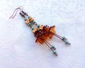Transparent Brown Lucite Plastic Flower Bead Antique Copper Metal Earrings