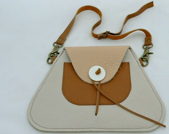 TRAPEZOID Collection Waist/Shoulder Bag in Ecru, Tan, and Flesh tone