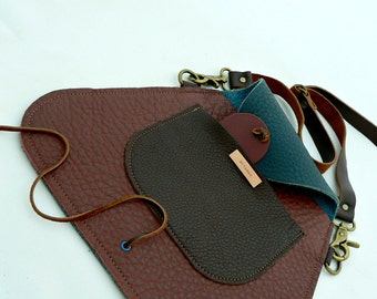 TRAPEZOID Collection Waist/Shoulder Bag in Raspberry, Chocolate, and Blueberry