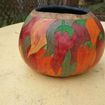 Gourd Art - Chili Peppers Bowl - Free Shipping