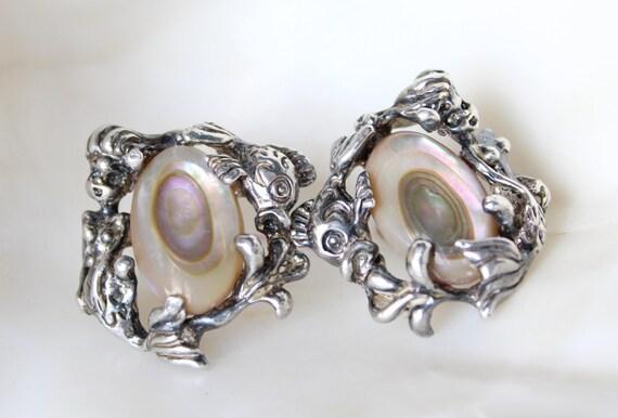 Rare Vintage Mermaid Earrings - image 1