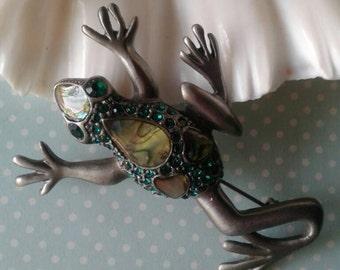 Vintage Abalone Frog Brooch