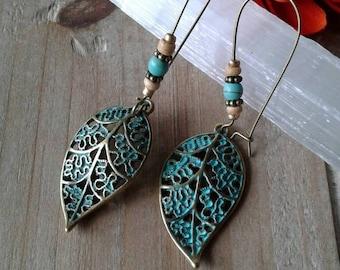 Rustic Bohemian Turquoise Fall Leaf Earrings