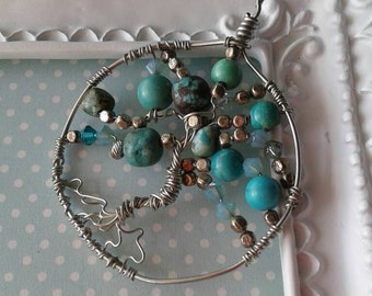 Vintage Tree of Life Pendant,Family Tree Pendant