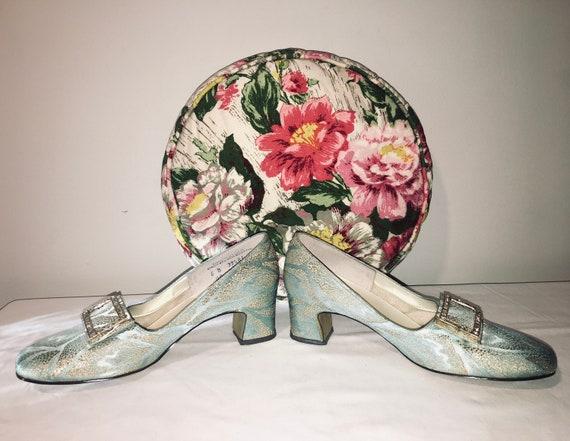 60's Metallic Brocade Low Heels with Rhinestones
