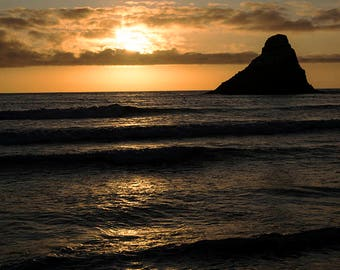 Oregon Coast Photography - Heceta Head at Sunset - Pacific Northwest golden sunset - archival print wall art for home or office