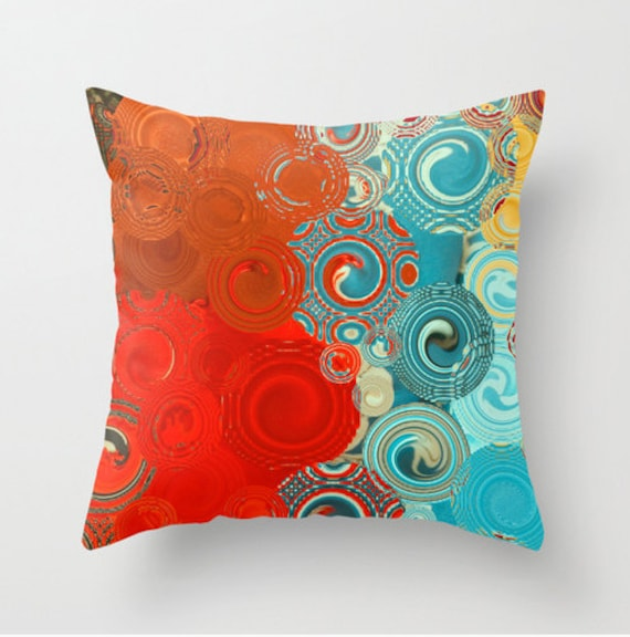 Throw Pillow Red Blue Yellow Swirls Colorful Scatter Etsy