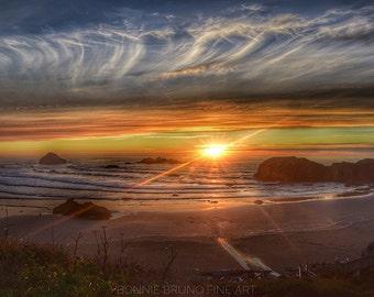 Sunset Print - Bandon, Oregon - brilliant sunset, dramatic sky, reflective beach, fine art photography nature print