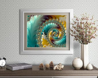 Fine Art Fractal Print - Wings of the Dawn No.1 - contemporary art in large format sizes for home and office - blue yellow gold wall art