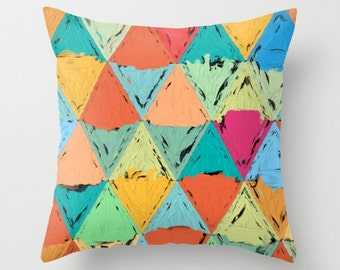 KIDS COLORFUL PILLOW - impasto triangles, square or lumbar novelty cushion, kids room accents, child's bedding, colourful child's pillow