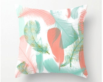 Featured in Better Homes & Gardens mag August 2016-- Feathers Decorative Throw Pillow  mint and peach pillow, home and dorm decor