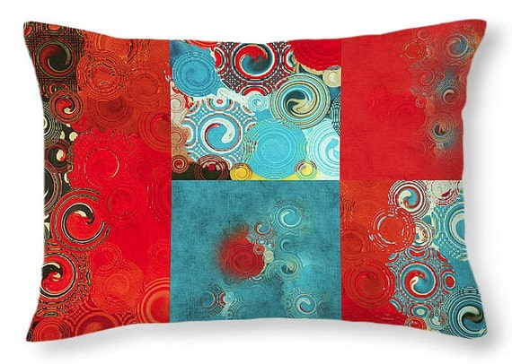 Swirly Mosaic Lumbar Pillow Red Teal Turquoise Decorative