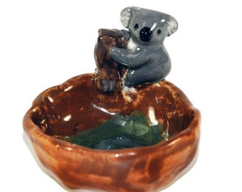 koala pinch pot trinket dish or ashtray handmade pottery Anita Reay  ceramic koala bear figurine great mothers  day gift nst
