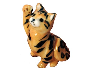 ceramic bengal cat figurine hand sculpted from porcelain by Anita Reay Etsy miniature kitten totem