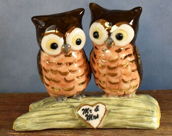 Ceramic Owl cake topper hand sculpted by Anita Reay Etsy Woodland wedding bridal shower cake topper Owl always love you 24k gold highlights