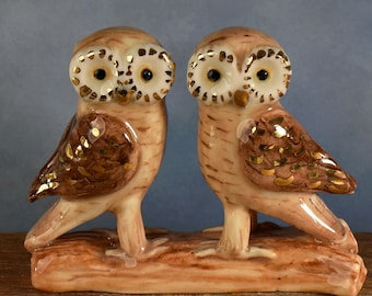 Ceramic Owl wedding cake topper with 24k gold trim, Greek Owl hand crafted  by Anita Reay Woodland wedding / Australian cake topper nst