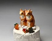 squirrel cake topper / red squirrels /bridal shower cake topper / We Do heart / squirrel figurine / wedding shower gift / ceramic caketopper