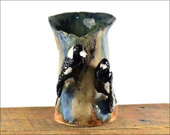 Hand sculpted ceramic magpie figurine vase, bird vase, Australian Pottery Anita Reay