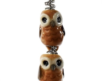 Ceramic Owl macrame beads or dreadlock beads hand sculpted each ooak  dread beads Anita Reay Etsy