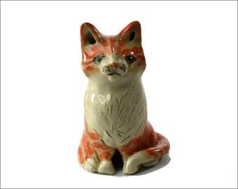 ginger cat pie bird ceramic one of a kind hand crafted by Anita Reay AnitaReayArt piebird ceramic orange tabby cat figurine