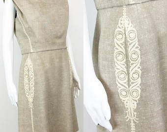 bdb6c50ea5e Vintage 60s Adele Simpson Natural Linen Shift Dress with Embroidery Lord  and Taylor