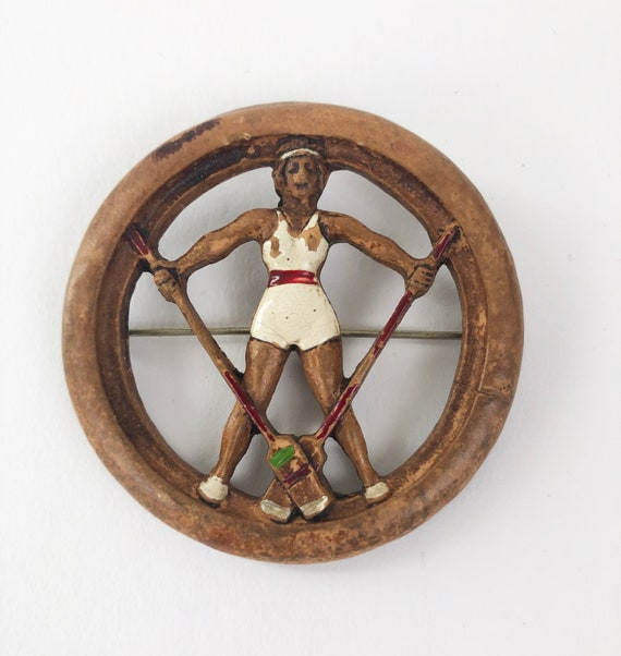 Vintage 1930s Celluloid Rowing Pin 30s 40s Nautica