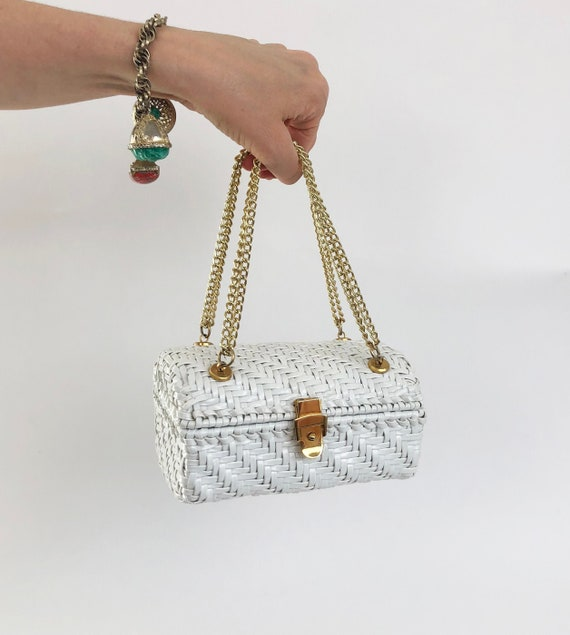 Vintage 60s White Wicker Box Purse Handbag Treasur