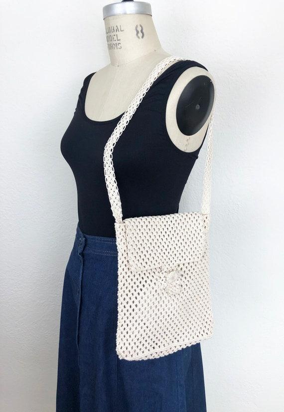 Vintage 70s White Macrame Shoulder Bag Handbag