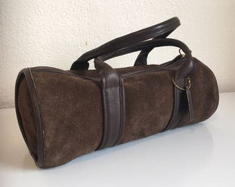 Rare Vintage 60s Bonnie Cashin for Coach Duffle Barrel Brown Suede Handbag