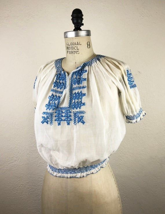 Vintage 40s Hungarian Embroidered Gauze Blouse Ka… - image 2