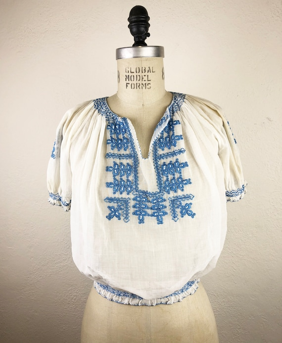 Vintage 40s Hungarian Embroidered Gauze Blouse Ka… - image 3