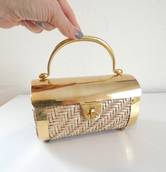 Vintage 50s 60s Wicker and Gold Party Bag The Elai