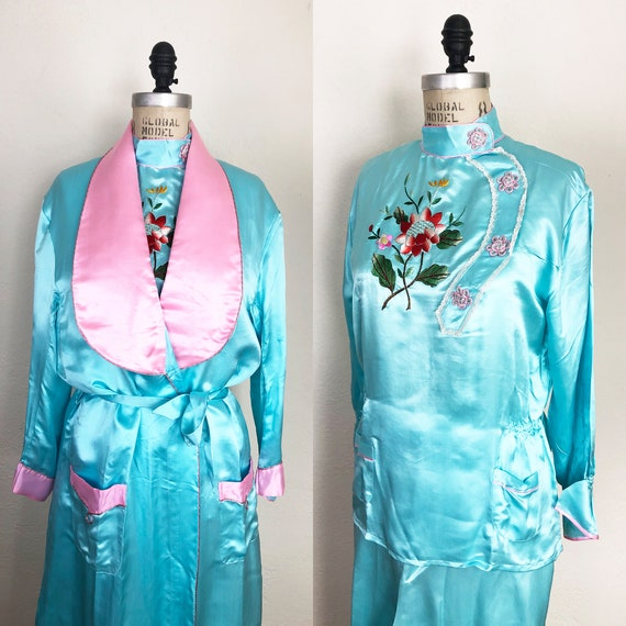 Vintage 40s 50s Embroidered Silk Pajama Set with R