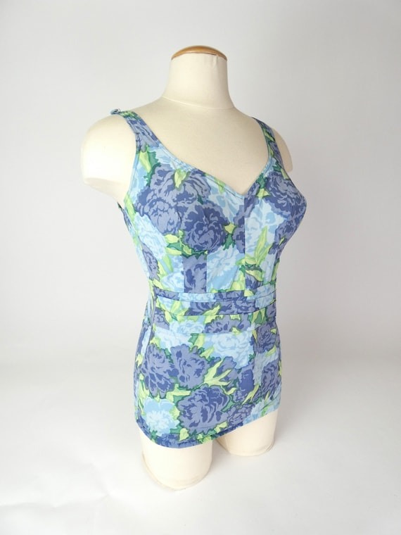 Vintage 60s Roxanne Perfection Fit Swimsuit Blue F