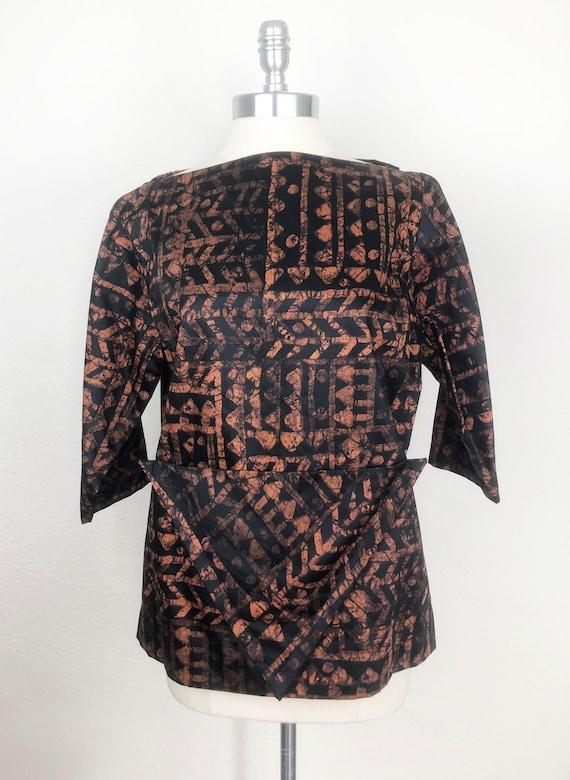 Vintage Early 1960s Boatneck Batik Print Pullover